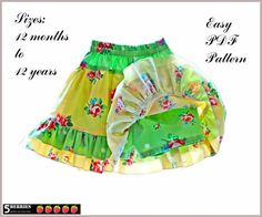 Isabella Girls Twirl Skirt PATTERN, PDF Sewing Patterns for Children, Baby, Toddler, E Book, Tutorial, 5 Berries  with shorts underneath to size 12