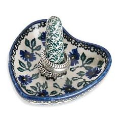 Hand-Painted Polish Pottery Ring Holder