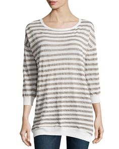 Striped Linen-Blend Sweater, Linen White/Fatigue by Halston Heritage at Neiman Marcus.