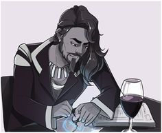 Gilmore doing some enchanting, with a goblet of wine of course. The best ideas happen when alcohol is involved.