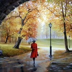 pictures on wall Picture - More Detailed Picture about MaHuaf sex Lady in Dress autumn park painting by numbers on canvas wall pictures for living room home decor Picture in Painting & Calligraphy from China Furniture Accessories Store Pictures To Paint, Nature Pictures, Art Pictures, Photos, Watercolor Landscape, Watercolor Paintings, Images D'art, Rain Art, Creation Photo