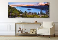 Oversized Landscape Panorama, Lake Tahoe Large Canvas, Emerald Bay, Sierra Nevada Lake Print, Lake Tahoe Fine Art, Travel Stretched Canvas by SusanTaylorPhoto on Etsy