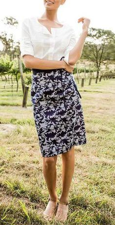 Country Dame Skirt Blue - Floral and Stripe Pencil Skirt Contrasting  Waistband Enseñanza De La Ropa 43bdf22155b2