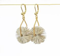 Unique earrings like tiny windmills - made of bound book fragments (novel) Splash-proof Length app. 35 mm Gold plated Sterling Silver wire finding and french hooks
