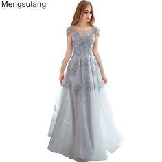 483648f72 Ssyfashion longos vestidos de noite 2017 de renda cinza bordado beading  partido vestido de noiva banquete elegante fino vestido de baile plus  size(China)