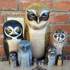Crested Owl of Ten Russian Nesting Dolls.