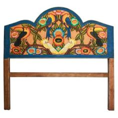 Every Carved Collection headboard offered by La Fuente Imports is a beautiful work of art, exquisitely hand-carved and hand-painted by the renowned Perla furniture studio of Michoacan, Mexico.  Be sure to view the alternate photos for a closer view of the handmade detail in every headboard.  The creative designs and vibrant colors result in an eye-catching addition to almost any home decor and will surely be cherished for years.  This headboard is available by Special Order in three sizes…
