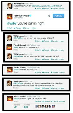 Wil Wheaton and Sir Pat Stew's tweets during the Superbowl. Priceless.