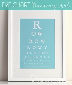 Use the eye chart generator to make a unique piece of art for your baby's nursery.