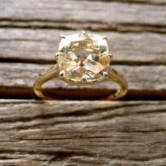 Cushion Cut Lemon Quartz Engagement Ring in 14K by SlowackJewelry