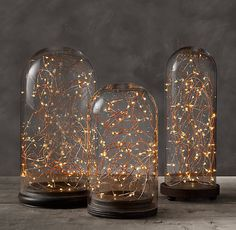 RH's Starry String Lights - Amber Lights on Copper Wire:Add a festive glow to mantels, centerpieces, planters, trees, walkways and more with our adapter- or battery-powered starry lights. The exclusive double-bulb strands offer superior sparkle, while the bendable copper wire conforms to any shape and can be wrapped around wreaths and braided through banisters to create elegant decorative accents.