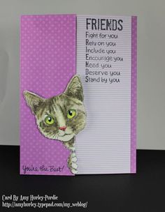 #cre8time for curious friends with a card like Amy Hurley-Purdie did with this #stampendous Feline Curious.