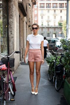 peter pan collar with high waisted shorts and cute mary jane heels