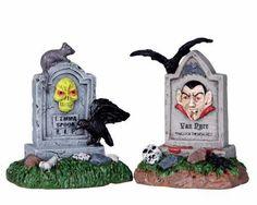 Lemax Spooky Town Halloween Graveyard Tombstone Pair 04169 | eBay