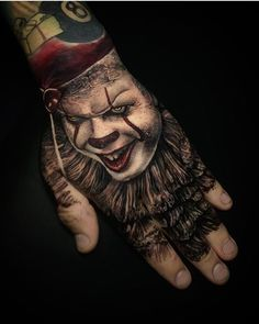 hat do you think of this ? work by Nature Tattoo Sleeve, Forearm Sleeve Tattoos, Nature Tattoos, Hand Tattoos, Small Tattoos, Cool Tattoos, Clown Tattoo, Halloween Tattoo, Pennywise Tattoo