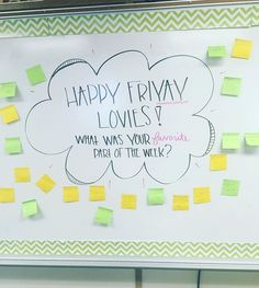 Happy FRIYAY everyone! I took a page out of and book to start our day with a little fun! Classroom Whiteboard, Future Classroom, School Classroom, Classroom Organization, Journal Topics, Bell Work, Responsive Classroom, Question Of The Day, This Or That Questions