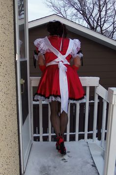 My Maid uniform with Gio - Cuban Heel Classic Fully Fashioned Stockings and Pleaser Delight 676 stiletto heels
