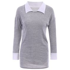 Casual Flat Collar Long Sleeve Color Block Women's Blouse, GRAY, XL in Blouses | DressLily.com