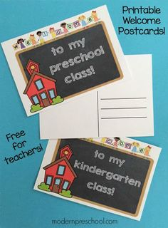 Free printable student welcome postcards for preschool & kindergarten teachers to send to their students or leave for their class at meet the teacher. Preschool First Day, Preschool Rooms, First Day Of School Activities, 1st Day Of School, Beginning Of School, Pre School, Preschool Projects, Preschool Themes, Sunday School
