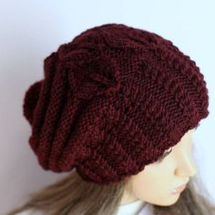Slouchy Knitted Hat Large  Women. Knit slouchy by WoolyThinker
