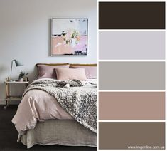 The Best Color Schemes for Your Bedroom – Grey and Mauve. Find bedroom color ideas ,bedroom color scheme,mauve bedroom, color scheme for bedroom, grey bedroom Interior Paint Colors For Living Room, Living Room Color Schemes, Living Room Grey, Living Room Decor, Gray Color Schemes, Bedroom Colour Palette, Bedroom Colors, Home Bedroom, Bedroom Decor