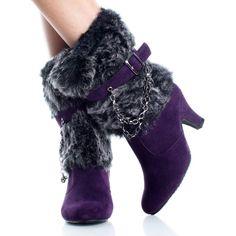 Purple-Suede Faux Fur Chunky Heel Womens High Heel Mid Calf Boots