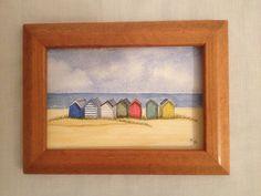 Watercolour beach huts Southwold suffolk by Alison crisp