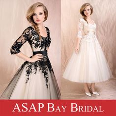 Free Shipping 1950s Style Vintage Lace Tea Length Wedding Dresses With Half Sleeve US $150.00