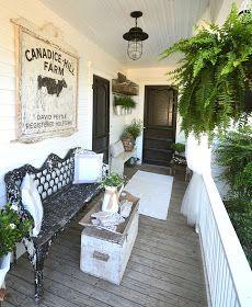 Love the rustic finds Vintage Porch, Vintage Farmhouse, Farmhouse Style, Victorian Porch, Modern Farmhouse, Modern Rustic, Modern Porch, Victorian Farmhouse, Farmhouse Ideas