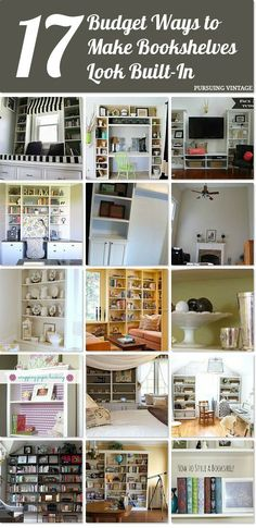 17 budget ways to make bookshelves look like built-ins Idea Box by Kristen {Pursuing Vintage} Built- Bookshelves Around Fireplace, Bookshelves Built In, Built Ins, Diy Bookcases, Home Office Furniture, Home Furniture, Bookshelf Design, Bookshelf Ideas, Bookshelf Styling