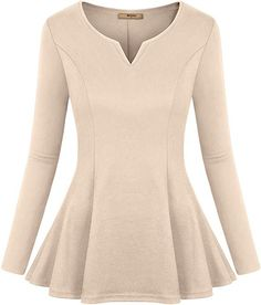 Find Miusey Women's Long Sleeve V Neck Pleated Fitted Tunic Peplum Tops online. Shop the latest collection of Miusey Women's Long Sleeve V Neck Pleated Fitted Tunic Peplum Tops from the popular stores - all in one Linen Shirt Dress, Tunic Shirt, Tunic Tops, Peplum Tops, Blouse, Long Sleeve Henley, Long Sleeve Tops, Plus Size Tank Tops, Chiffon Tops