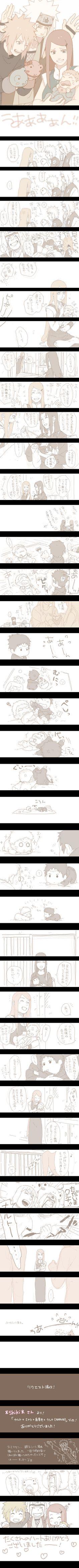 Baby Naruto, Kushina, Jiraiya, Minato, Mikoto, and baby Sasuke. <3 This is adorable, I wish I knew what they were saying.