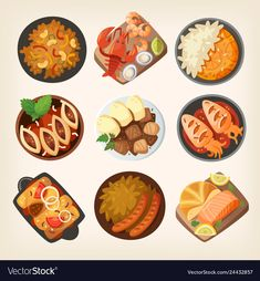 Top view on classic dinner dishes from different countries of the world. Food from national cuisines on a table. Dinner Dishes, Dinner Table, A Table, Traditional French Desserts, Cake Vector, Food Clipart, Easter Toys, Food Stickers, Thanksgiving Traditions
