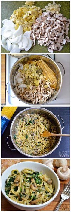 Spinach & Artichoke Wonderpot (another one pot wonder recipe) Ingredients 8 oz. mushrooms 1 (14 oz.) can artichoke hearts 4 cloves garlic 1 medium yellow onion 5 cups vegetable broth 2 Tbsp olive oil 12 oz. fettuccine 1 tsp dried oregano ½ tsp dried thyme freshly cracked pepper (15-20 cranks) 4 oz. frozen cut spinach