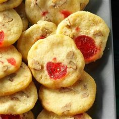 Cherry-Pecan Icebox Cookies Recipe- Recipes During the holiday season, I keep a roll of dough for these crisp cookies in the freezer. It's nice to offer unexpected company a home-baked treat. Icebox Cookie Recipe, Icebox Cookies, Fruit Cookies, Spice Cookies, Oatmeal Cookies, No Bake Cookies, Cookies Et Biscuits, Cookie Recipes, Pecan Cookies