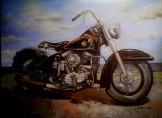 Cuadro al oleo Harley Davidson.  Pintura al oleo sobre Lienzo de la famosa motocicleta Norteamericana.