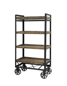 Honk Trolley with 4 x Wooden Storage Crates h w x x d In stockProduct code: Honk trolley with 4 x wooden storage crates made from recycled fir wood and iron.