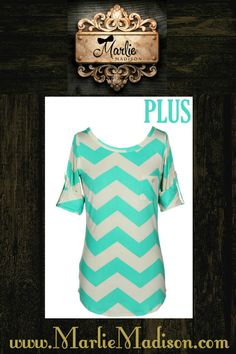 Chevron Top in Mint Also available in Black, Coral, Grey, Mocha, and Navy http://www.marliemadison.com/tops/chevron-tops