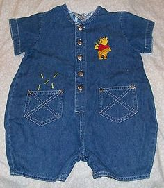 Disney Winnie the Pooh Picnic One-Piece Embroidered Denim Romper Size 12 Month