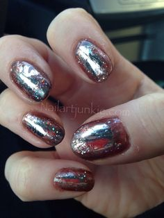 Mirror Nails. The trick with the nail foil is that you have to use a special glue that you get when you order from Dollar Nail Art.