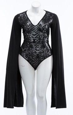 "Plus Size ""Twirl The Night Away"" Sequin Dramatic Sleeve Leotard Bodysuit - Black"