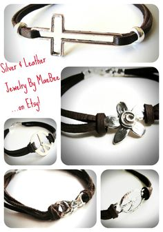 Sterling and Leather...coolest bracelet combo! See more from JewelryByMaeBee on Etsy.