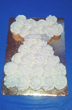 GORGEOUS Wedding dress cupcake cake! The perfect touch the a bridal shower!