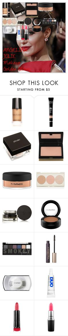 """ANGELINA JOLIE Makeup Golden Globes"" by oroartye-1 on Polyvore featuring beauty, ANGELINA, Armani Beauty, MAKE UP FOR EVER, Jouer, Kevyn Aucoin, MAC Cosmetics, Topshop, Illamasqua and Forever 21"
