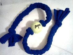 Fleece Dog Tug Toy with Tennis Ball by MoJosMunchiesMore on Etsy, $10.75