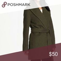 Olive Wool Blend Wrap Coat Beautiful olive green coat in a nice mid length. It is a wool blend of 30% wool and 70%polyester, and is very warm yet comfortable. I have seen similar coats from more expensive brands but this one takes the cake to price and style. Old Navy Jackets & Coats