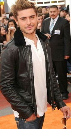 Zac efron in leather jacket