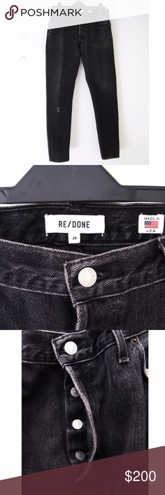 """Re/Done Black Levis Straight Skinny Denim Jeans 29 RE/DONE's Levis Straight Skinny features both a straight cut and skinny silhouette, this worn-in pair ensures a flattering, one-of-a-kind design you will reach for time and time again. Distressing at the knee. Buttoned fly. Front and back pockets. Light fading along front.Excellent condition-worn 3x. Smoke/pet-free home. Credit to Revolve online image for last 2 photos. Waist (flat): 31"""" Hip: 38 1/2"""" approx. Front Rise: 10"""" Back Rise: 14""""…"""