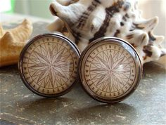 Compass Rose Cuff Links / Cufflinks - Antique Nautical Print Cufflinks in 18mm Brass with Glass - Pirate Jewelry. $18.00, via Etsy.