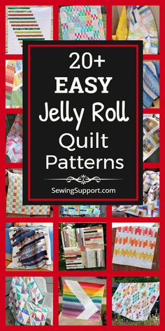 Jelly Roll Quilt Patterns. 30+ free & easy jelly roll quilt patterns, tutorials, and diy sewing projects easy enough for a beginner to sew. Designs include easy strip, square, and race quilts. #SewingSupport #Jelly #Roll #Pattern #Quilt #Quilting #Easy #Free
